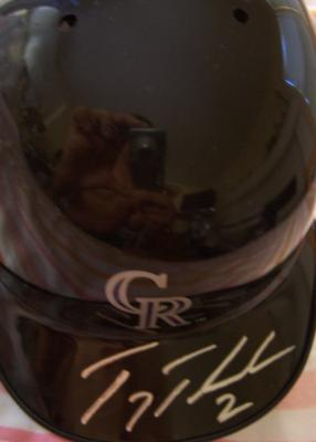 Troy Tulowitzki autographed Colorado Rockies mini helmet