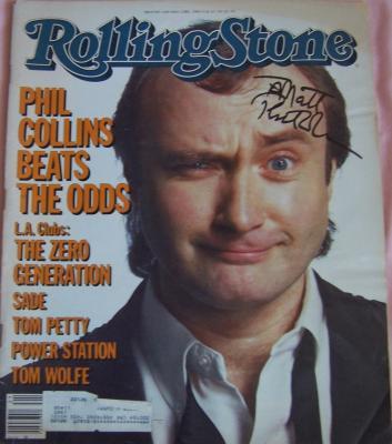 Phil Collins autographed 1985 Rolling Stone magazine (to Matt)