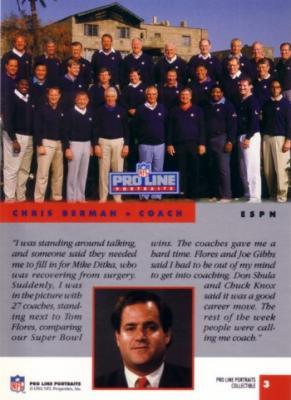 Chris Berman & NFL Coaches 1992 Pro Line Portraits Collectible insert card #3
