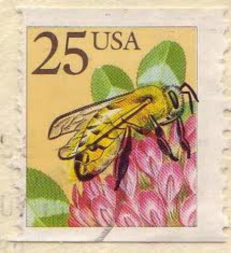 Stamps;Bee stamp from the US with the yellow yellow