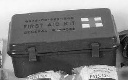 Militaria; The steel box 12-unit vehicle first aid kit of World War II and the 1950s