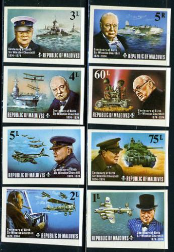Sir Winston Churchill 8v imperforated; Year: 1974