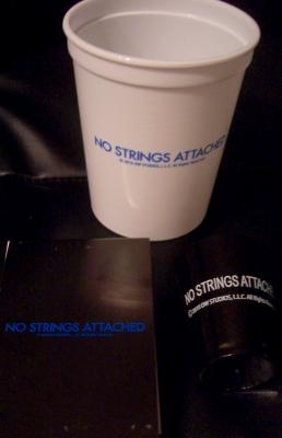 No Strings Attached movie set of three promotional items (cup shot glass note pad)