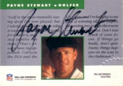 Payne Stewart certified autograph 1991 NFL Pro Line golf card