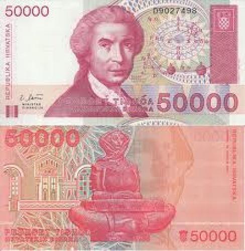 Banknotes; 1993. 50000 Dinars, Croatian Banknote