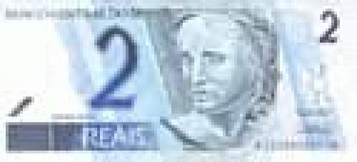 2 Reais; Issues of 1993-2002 (portrait watermark)