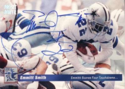 Emmitt Smith autographed Dallas Cowboys 1993 Pro Set Power card