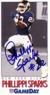 Phillippi Sparks autographed New York Giants 1992 GameDay card