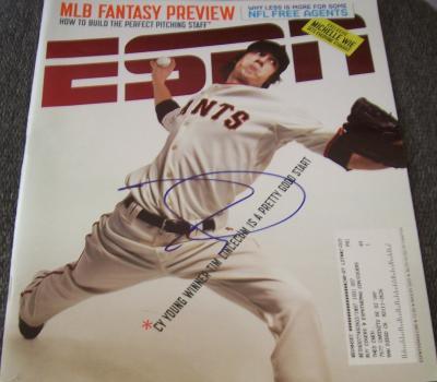 Tim Lincecum autographed San Francisco Giants 2009 ESPN Magazine