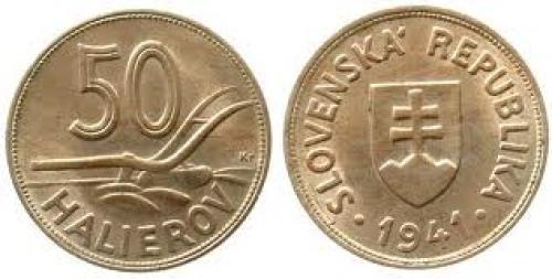 Coins; Slovakia KN 50 Halierov 1941