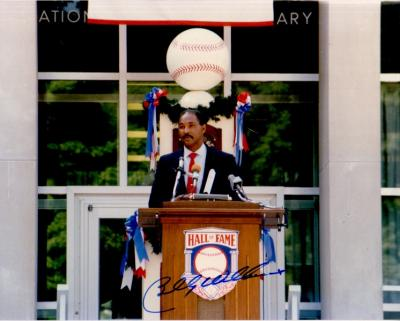 Billy Williams (Cubs) autographed Baseball Hall of Fame Induction speech 8x10 photo