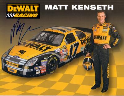 Matt Kenseth (NASCAR) autographed 8x11 DeWalt Racing photo card
