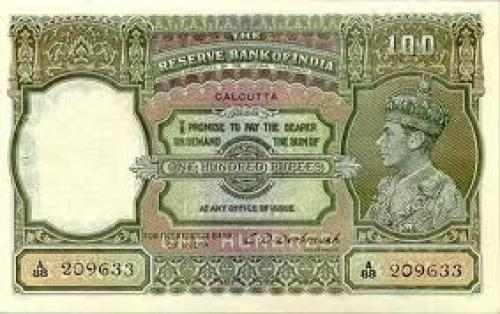 "Banknotes; INDIA 100 Rupees ""Lahore"" and ""calcutta""issue extremely rare"