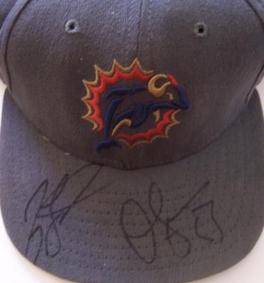 Jason Taylor & Junior Seau autographed Miami Dolphins cap