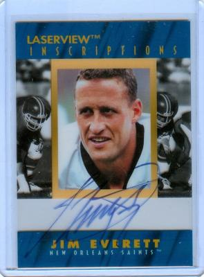 Jim Everett certified autograph Los Angeles Rams 1996 Pinnacle Inscriptions card