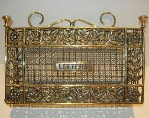 Decorative Antique English Brass Wall Hanging Letter Rack / Holder
