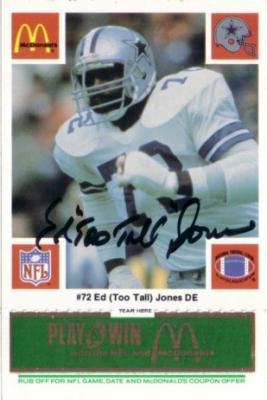 Ed (Too Tall) Jones autographed 1986 Dallas Cowboys McDonald's card