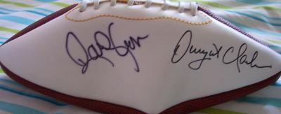 Dwight Clark & Randy Cross autographed full size white panel football