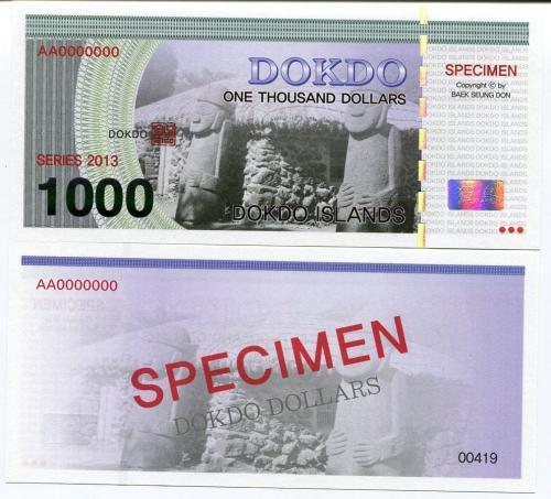 DOKDO ISLAND KOREA 1000 1,000 DOKDO DOLLARS 2013 SPECIMEN UNC
