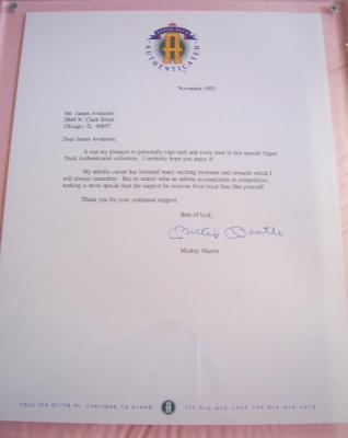 Mickey Mantle autographed Upper Deck Authenticated (UDA) letter