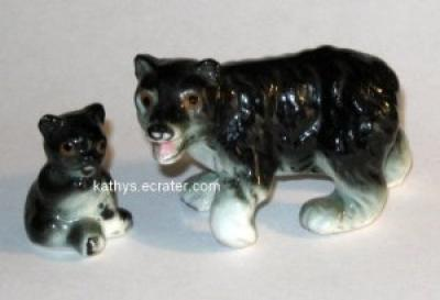 Black Bear Family Lot 2 Bone China Animal Figurine