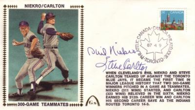 Steve Carlton & Phil Niekro autographed Cleveland Indians 300-Game Teammates cachet