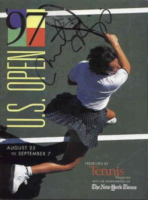 Martina Hingis autographed 1997 U.S. Open tennis magazine (full name signature)