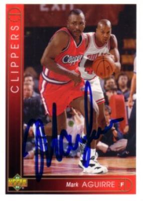 Mark Aguirre autographed Los Angeles Clippers card