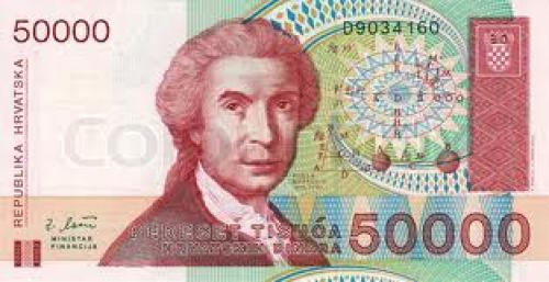 Banknotes; banknote of Croatia; 50000 dinar