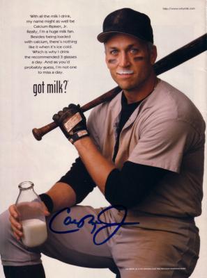Cal Ripken autographed Got Milk? full page magazine ad