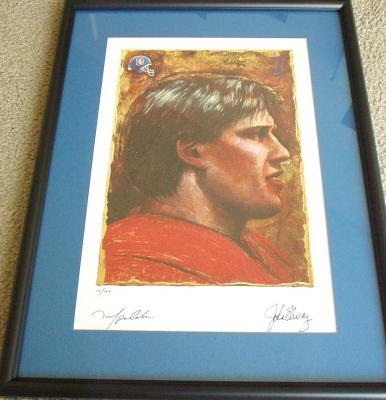 John Elway autographed Denver Broncos NFL Pro Line 1992 lithograph matted & framed ltd edit 100