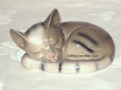 Ceramic Sleeping Siamese Cat Curled Up Animal Figurine