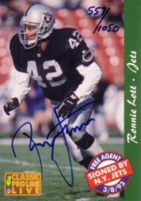 Ronnie Lott certified autograph 1993 Pro Line card