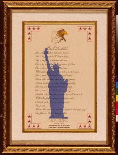 The U.S. Of A. Framed Poetry Collectible