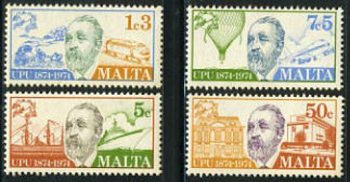 U.P.U. centenary 4v; Year: 1974