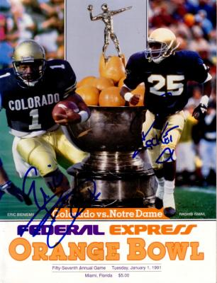 Raghib Rocket Ismail &amp; Eric Bieniemy autographed 1991 Orange Bowl program