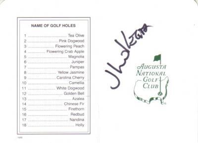 Jhonattan Vegas autographed Augusta National Masters scorecard